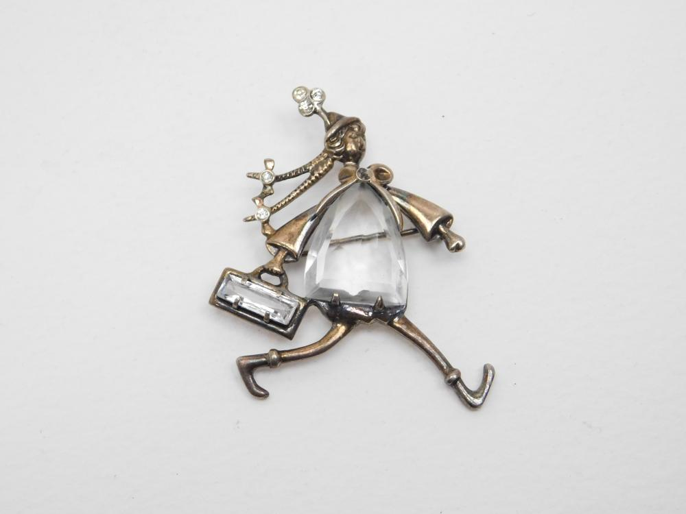 Vintage Sterling Silver Dr Suess Style Figural Lady Walking Brooch 11.2G