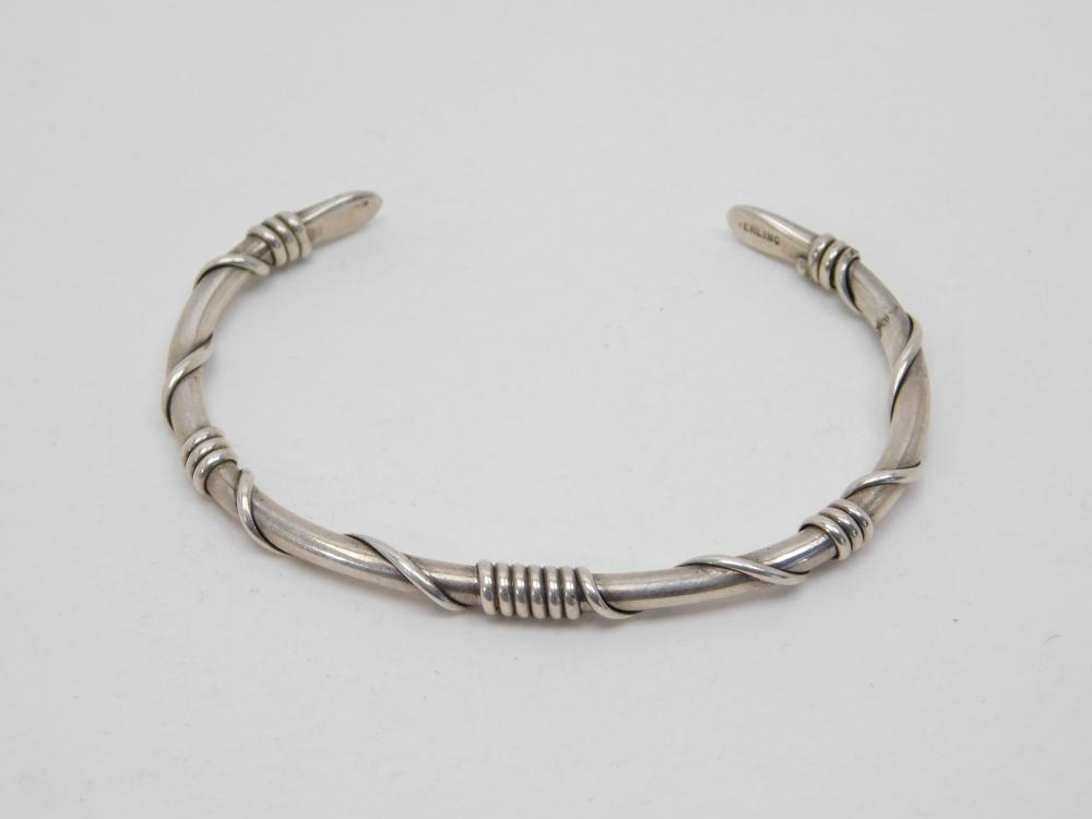 Vintage Native American Navajo Sterling Silver Wrapped Wire Cuff Bracelet 14G