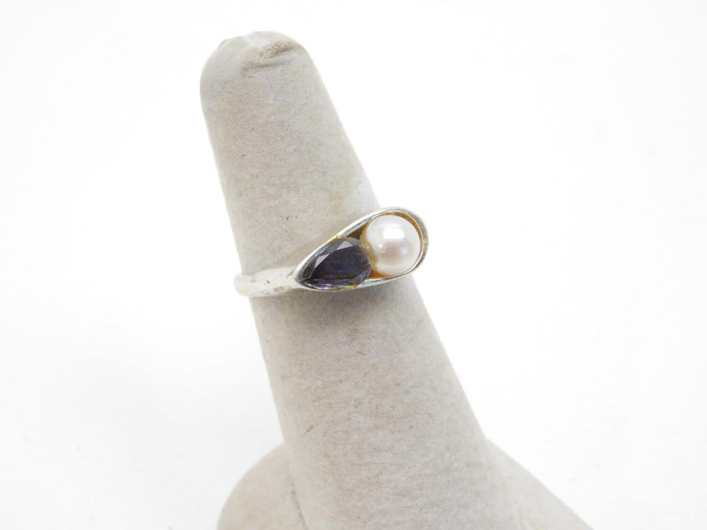 Sterling Silver Pearl & Amethyst Ring 4.7G Sz7