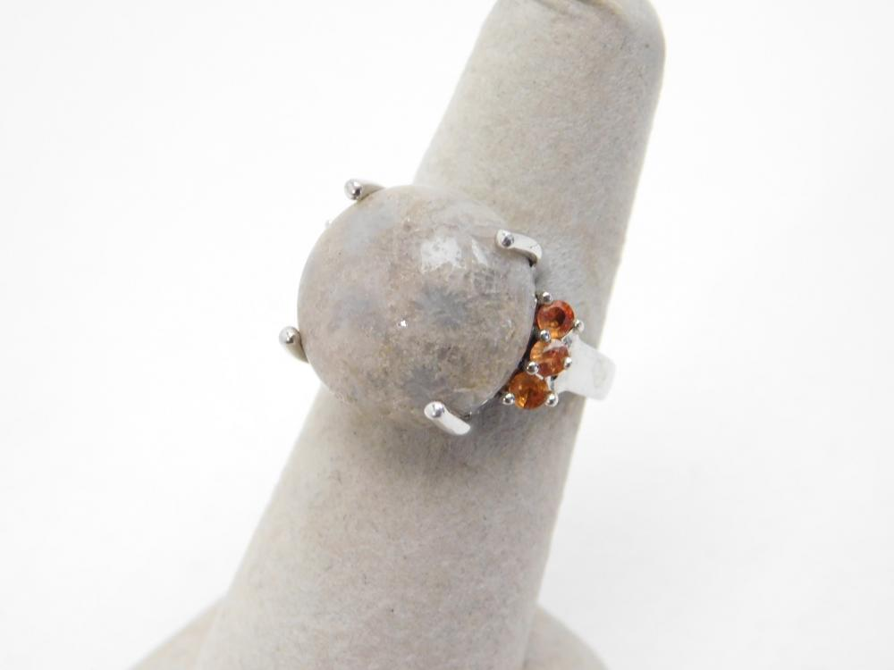 Sterling Silver Petoskey Stone Fossilized Coral Ring 6.9G Sz7.5