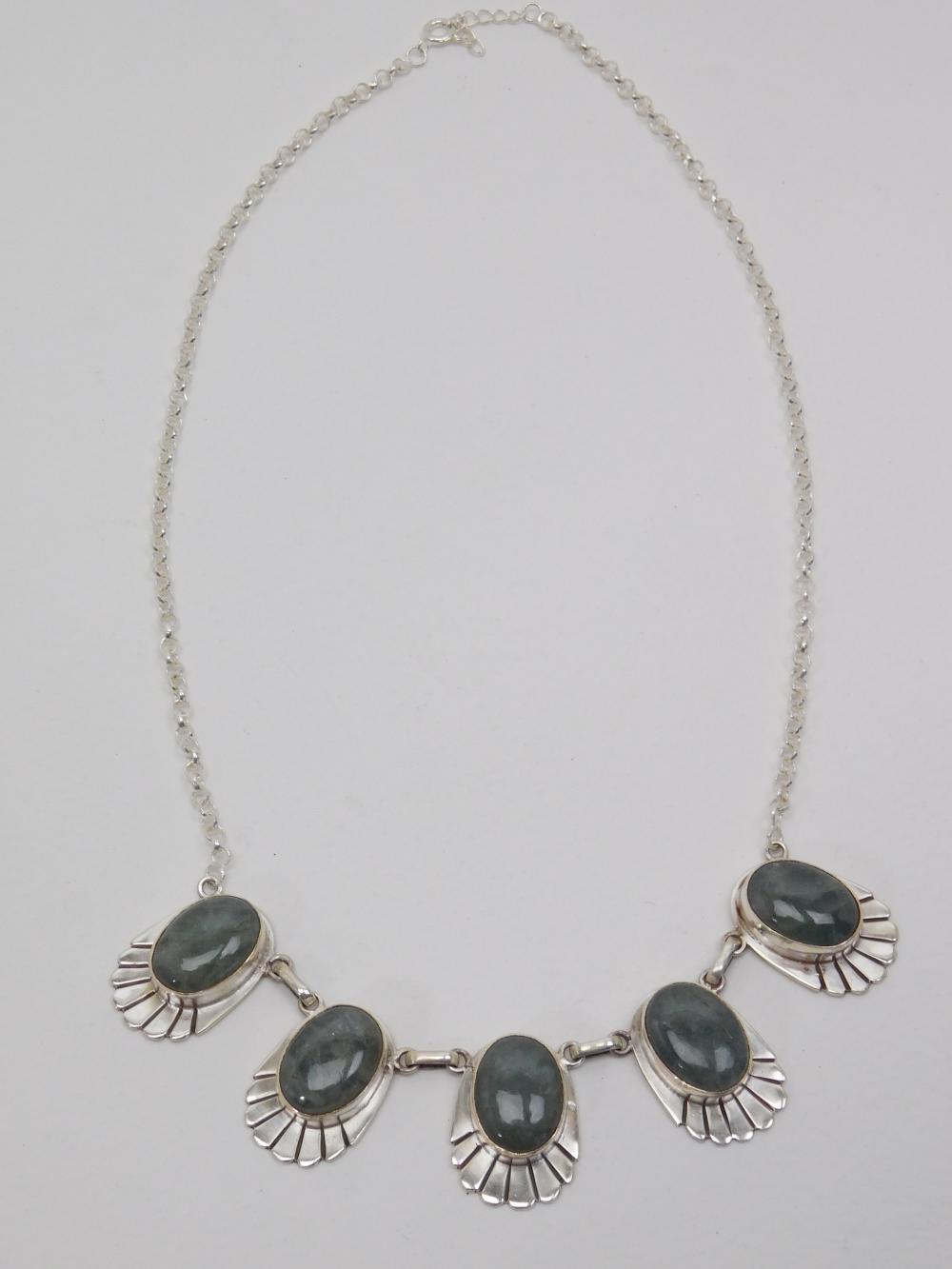 Vintage Mexico Handmade Sterling Silver Labradorite 5 Stone Necklace 43.5G