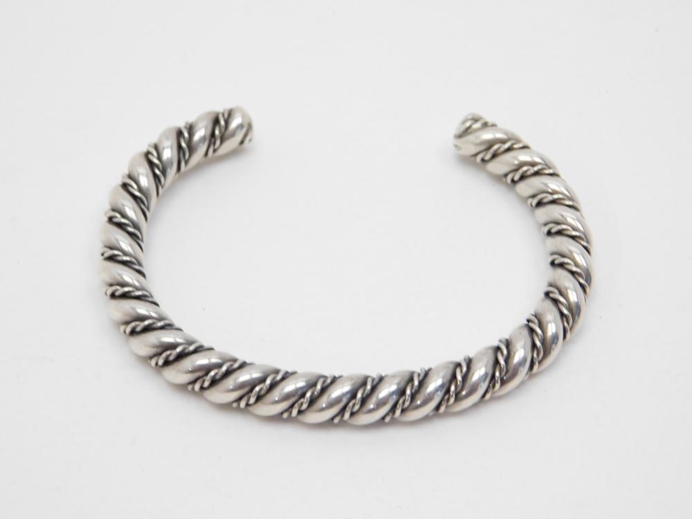 Vintage Native American Navajo Mens Sterling Silver Twisted Cuff Bracelet 64G