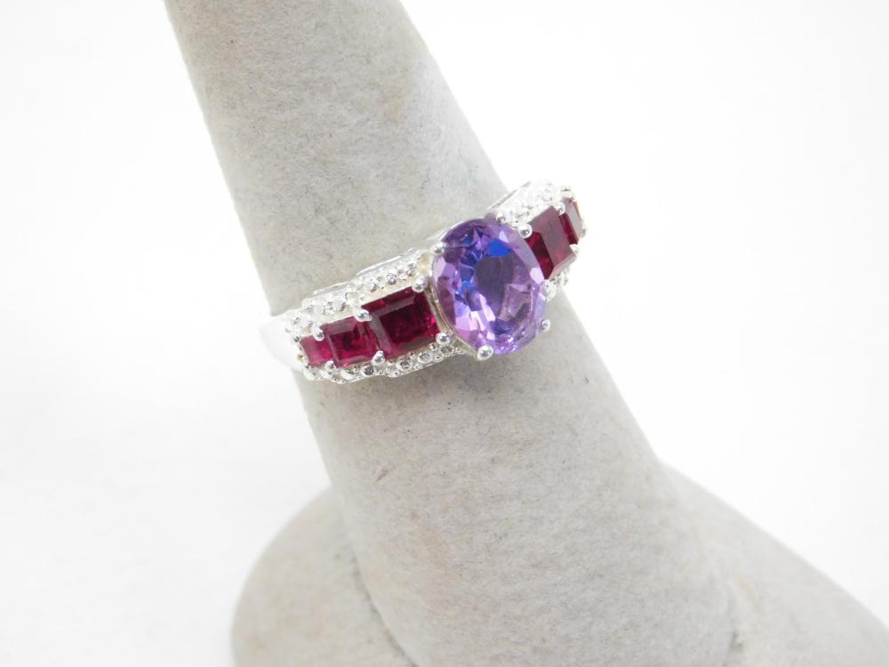 Sts Sterling Silver Amethyst Simulated Ruby Fashion Cocktail Ring 3.4G Sz8