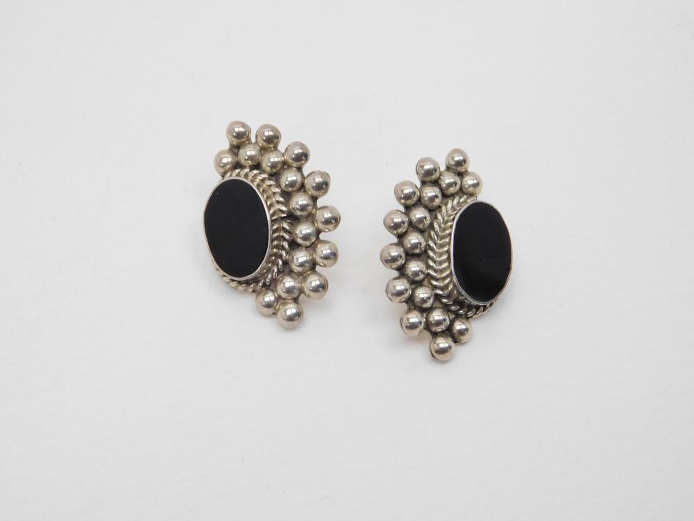 Vintage Mexico Sterling Silver Black Onyx Modernist Earrings 15.7G