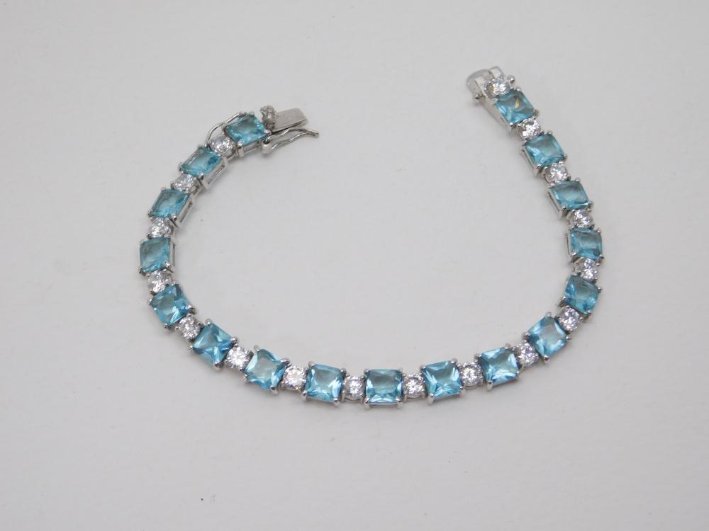 Sterling Silver Blue Topaz & Brilliant Cz Fashion Tennis Bracelet 14G