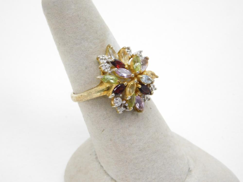 Goldtone Sterling Silver Multistone Cluster Fashion Cocktail Ring 4.8G Sz8.25