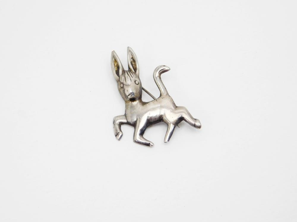 Old Mexico Sterling Silver Prancing Donkey Jackass Brooch 5.7G
