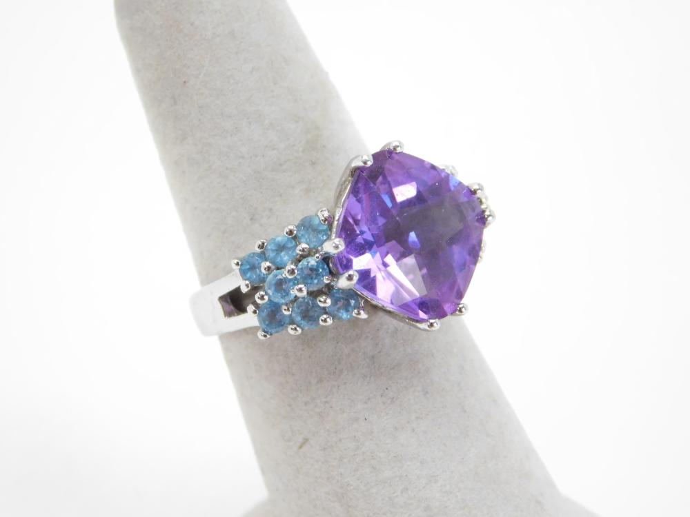 Thailand Nf Sterling Silver Faceted Amethyst Topaz Fashion Cocktail Ring 7.2G Sz8