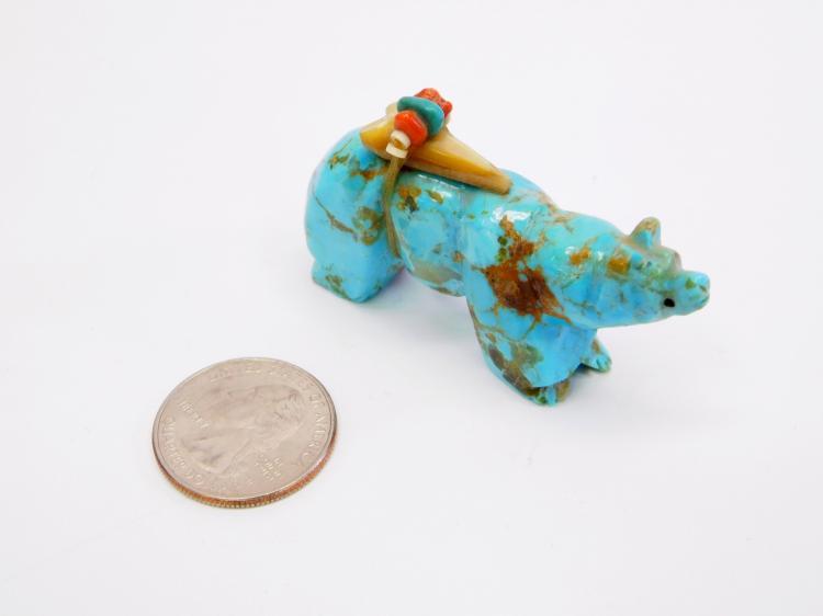 Lot 3: Vintage Zuni Hachita Mine New Mexico Turquoise Carved Bear Fetish