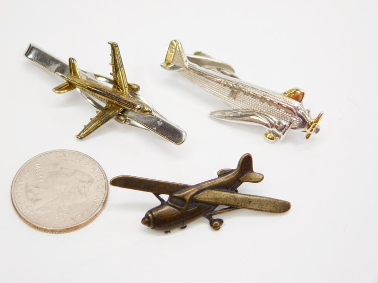 Lot 7: Vintage Men'S Airplane Tie Clip And Pin Lot