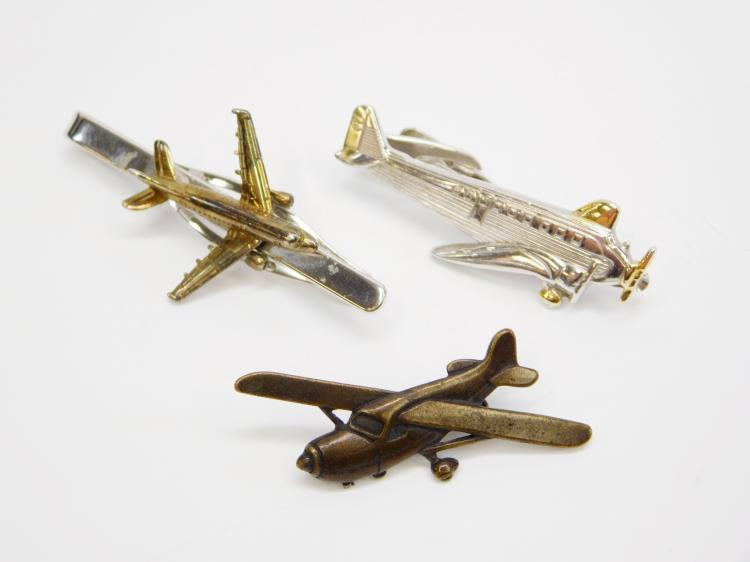 Vintage Men'S Airplane Tie Clip And Pin Lot