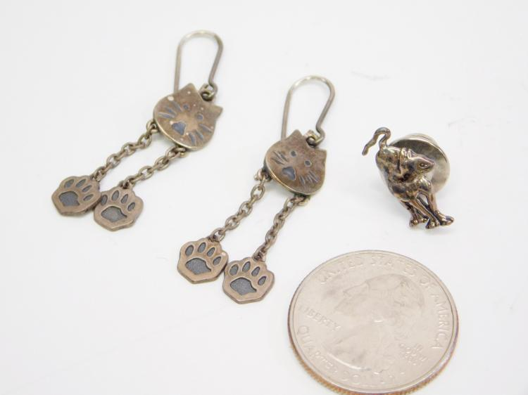 Lot 8: Vintage Sterling Dangle Cat Earrings And Cat Tie Tack Or Pin