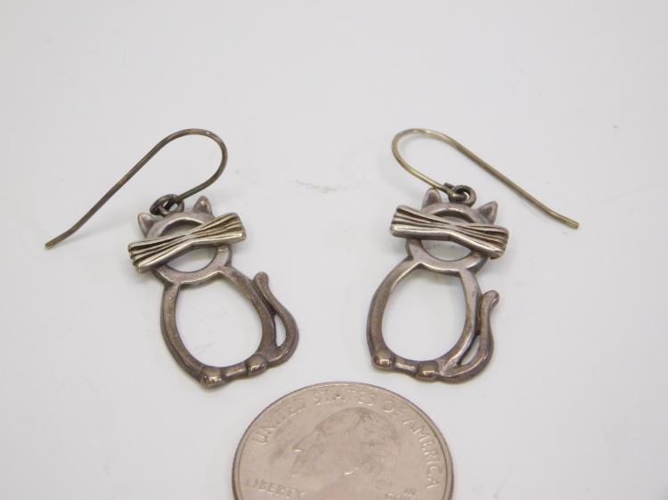 Lot 9: Vintage Sterling Silver Cat Silhouette Dangle Earrings
