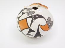 Lot 11: Vintage Acoma New Mexico E Waconda Hand-Painted Clay Pot Snake Vase