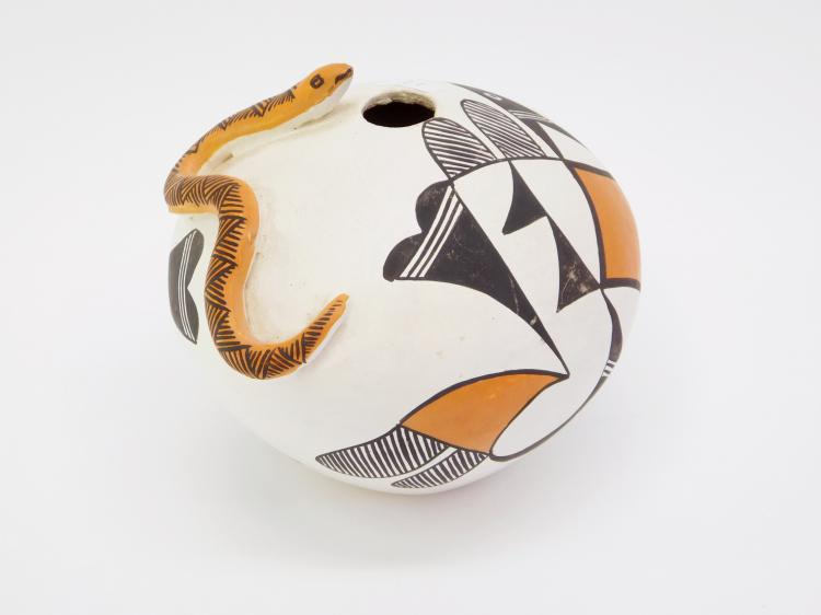 Vintage Acoma New Mexico E Waconda Hand-Painted Clay Pot Snake Vase