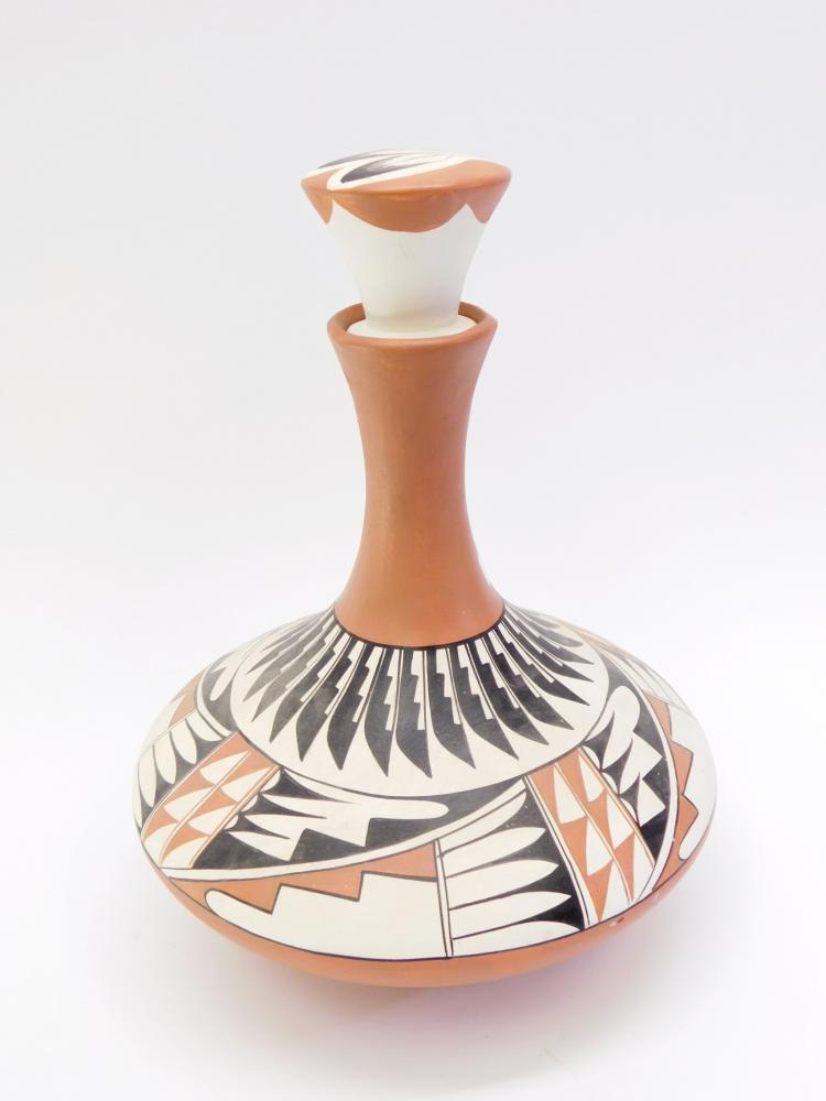 Lot 12: Vintage Southwestern Native American Style Lidded Hand-Painted Ceramic Vase