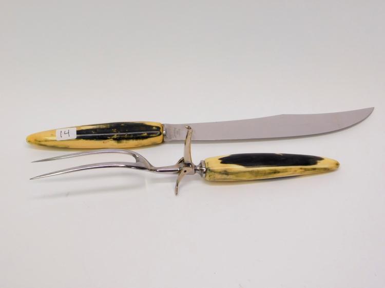 Lot 14: Vintage Remington Fossilized Walrus Ivory Handled Knife Carving Set
