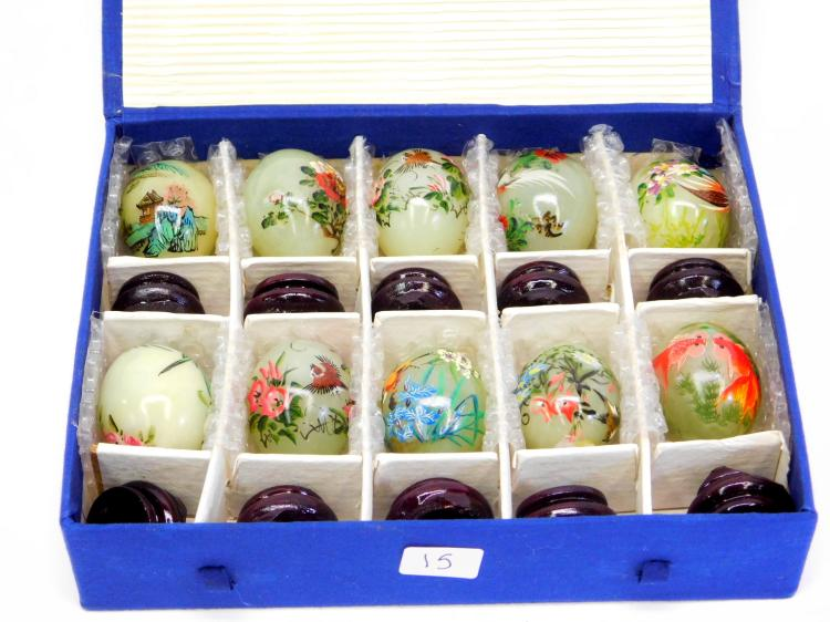 10 Vintage Jade Hand-Painted Japanese Eggs