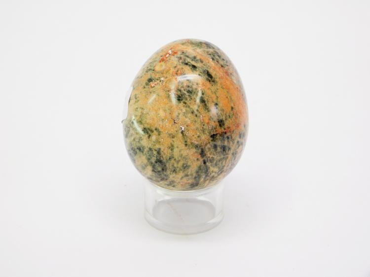 Lot 17: Carved Pink And Green Unakite Jasper Stone Egg