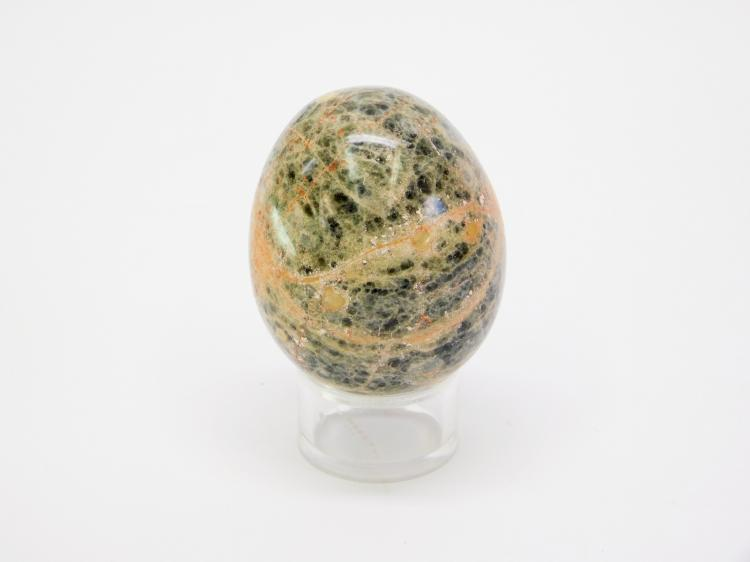 Carved Pink And Green Unakite Jasper Stone Egg