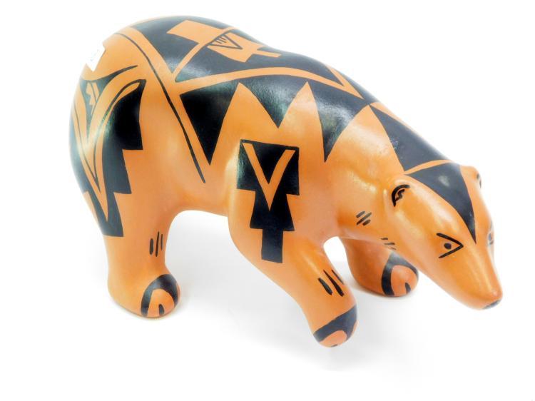 Vintage Navajo Carol Pecos Hand-Painted Clay Bear