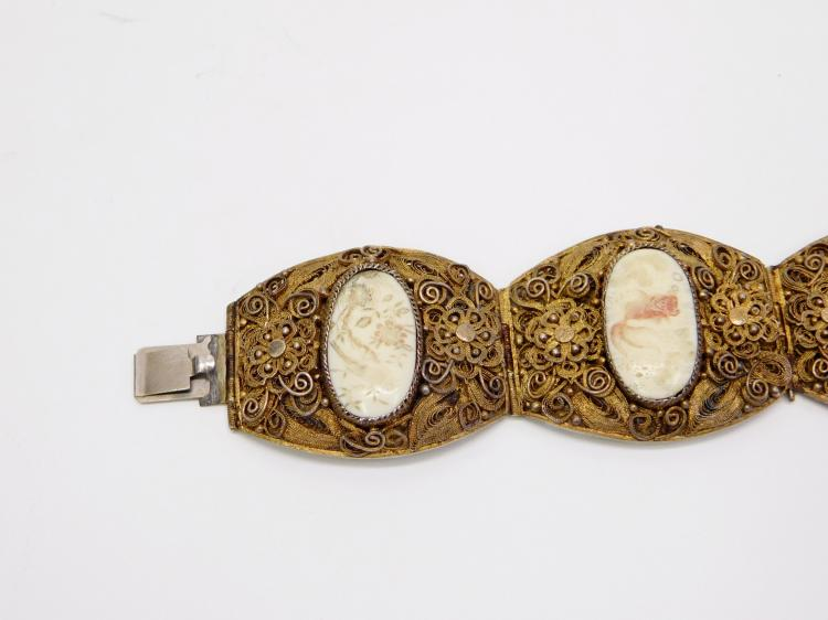 Lot 20: Antique Sterling Chinese Export Painted Ivory 46G Filigree Bracelet