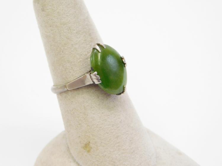 Lot 21: Antique Chinese Sterling And Jade Ring Sz7