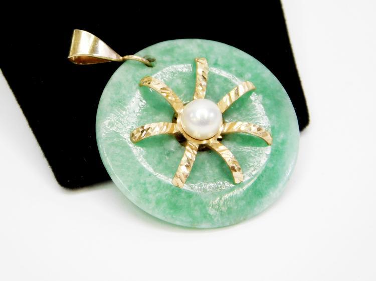Lot 22: 11G Vintage Oriental 14 Karat Gold Pearl And Jade Donut Pendant