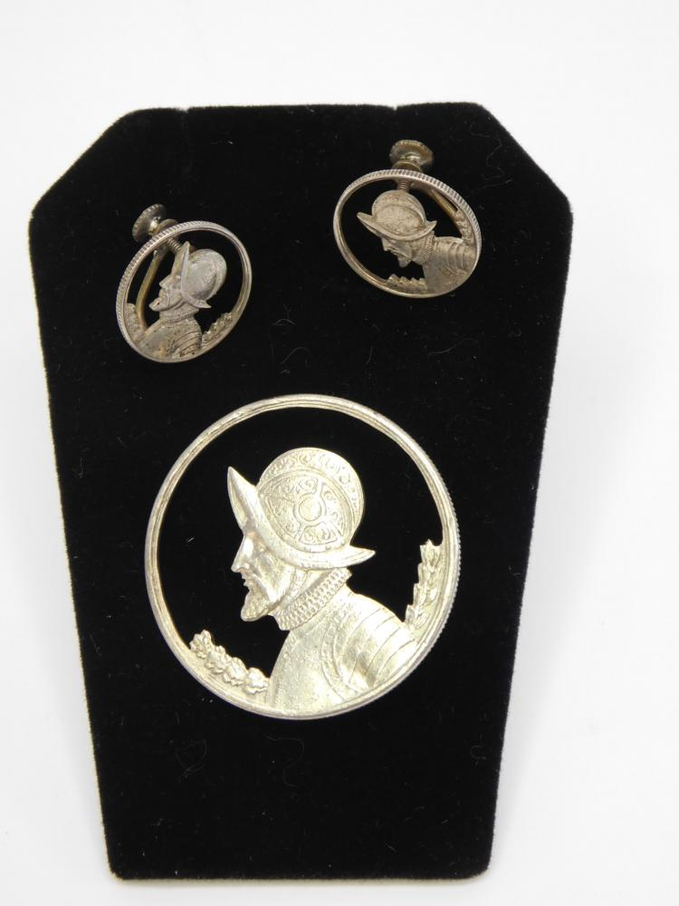 Vintage Silver Cut Out Balboa Coin Brooch And Earrings