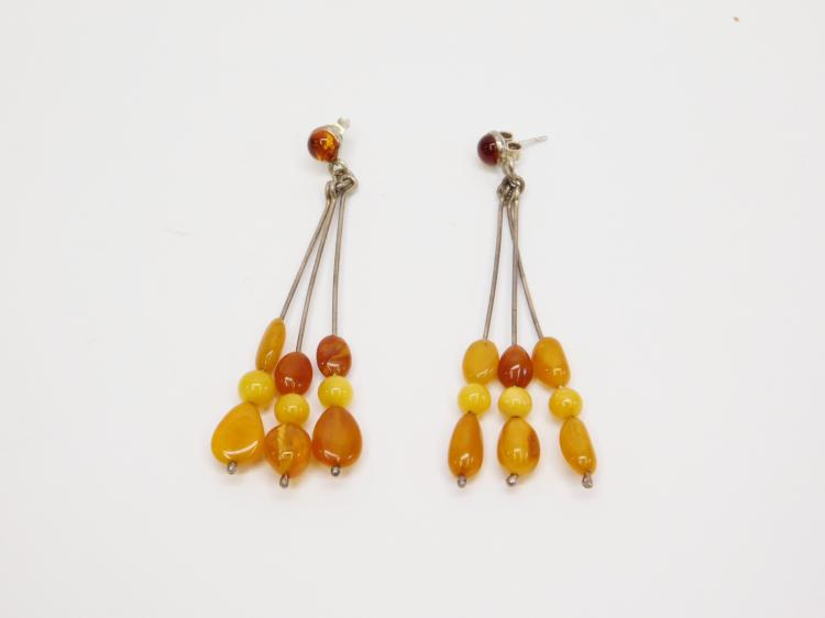 Vintage Sterling Butterscotch And Baltic Amber Long Dangle Earrings