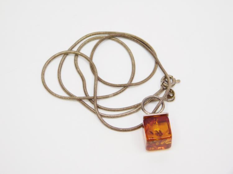Vintage Sterling Square Amber Pendant On Snake Chain