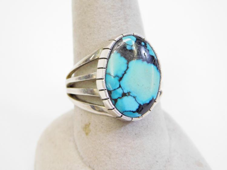 Vintage Navajo Sterling Blue Gem Mine Turquoise Ring Signed Dr