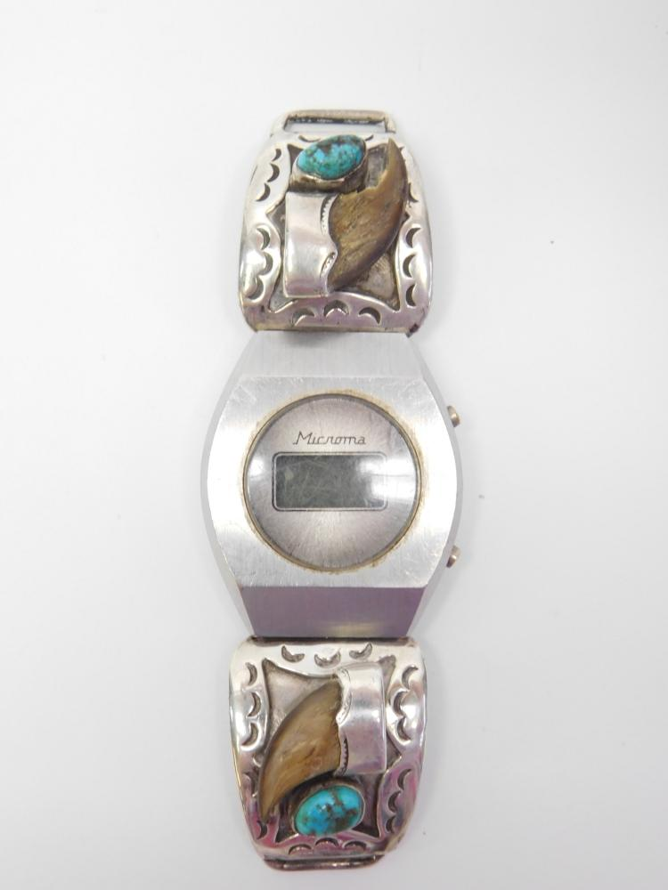 Vintage Navajo Sterling Badger Claw Turquoise Watch Tips Signed Jg