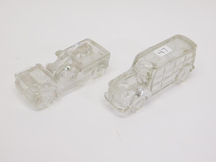 2 Vintage Glass Candy Containers Woody And Jeep