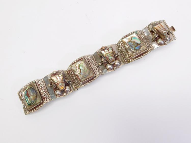 Vintage Alpaca Mexico Abalone Hinged Link Cuff Bracelet