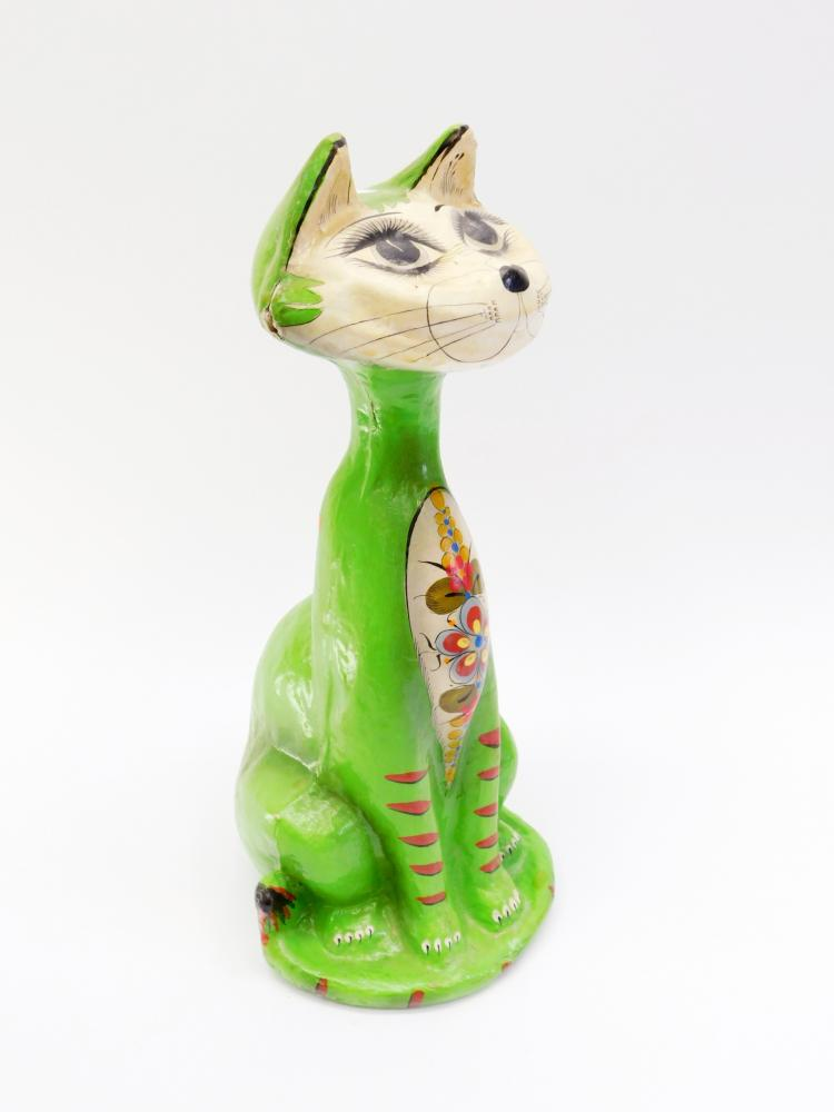 Vintage Mexico Hand-Painted Paper Mache Decorative Cat