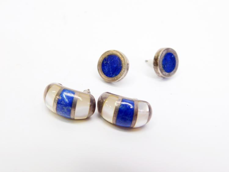 Vintage Sterling Lapis And Mother Of Pearl Post Earrings
