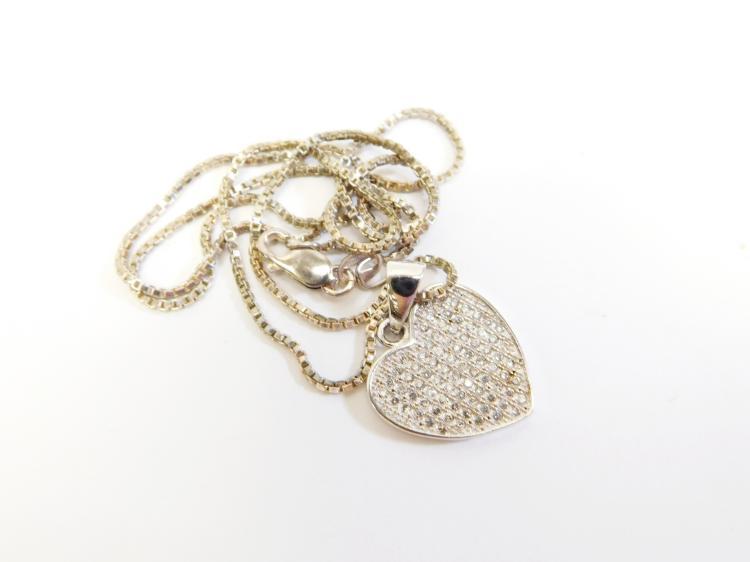 Modern Sterling Heart Diamond Cluster Pendant Necklace