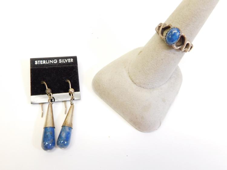 Vintage Navajo Sterling And Lapis Circle Jw Ring And Teardrop Earrings
