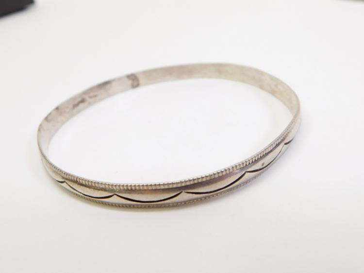 Vintage Navajo Sterling Sand Cast Bangle Bracelet