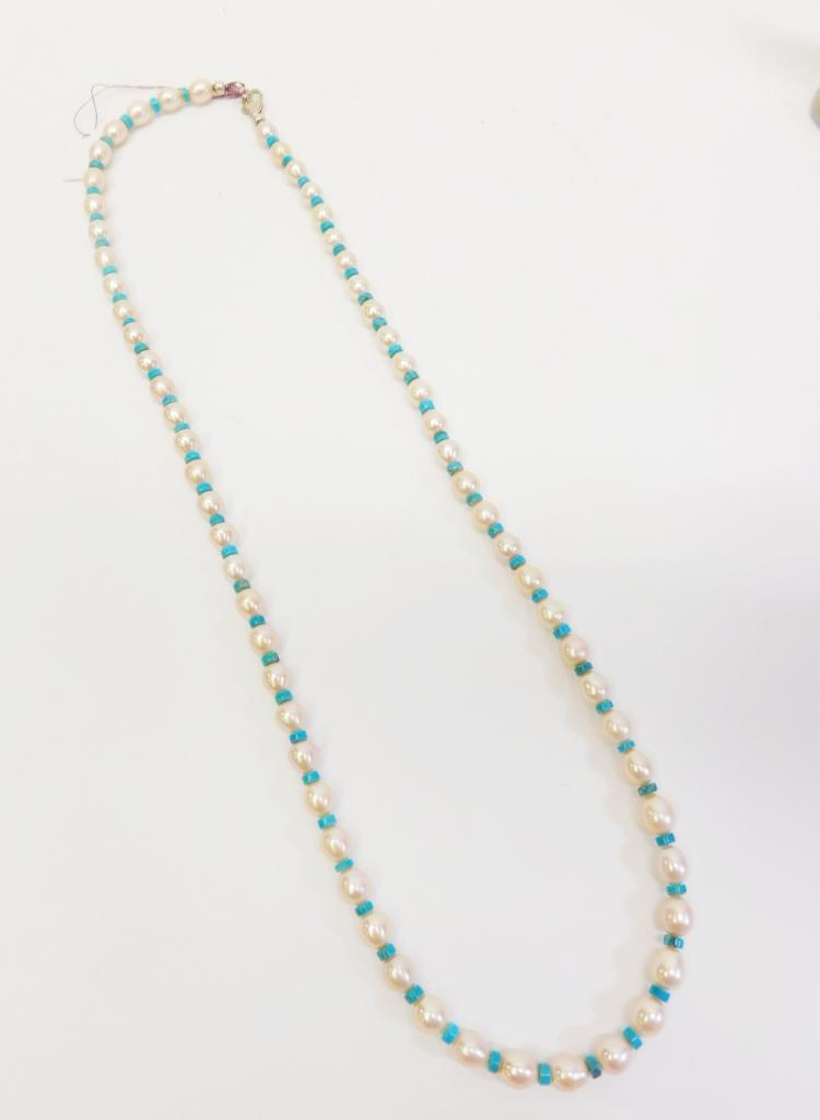 Navajo Sterling Pearl And Turquoise Beaded Necklace