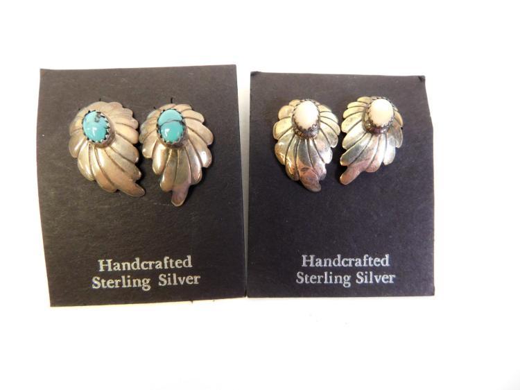 2Pr Vintage Navajo Sterling Turquoise Mother Of Pearl Leaf Earrings