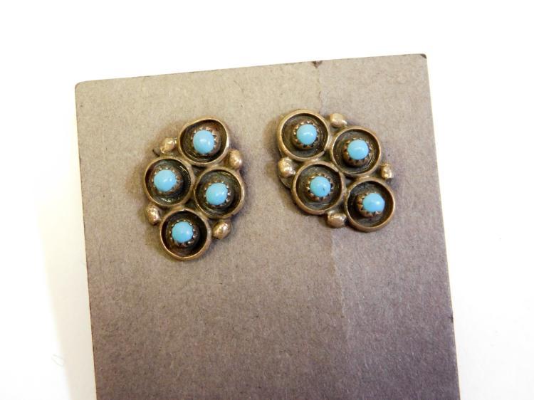 Vintage Navajo Sterling Turquoise Cluster Earrings