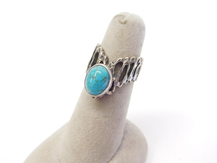 Vintage Navajo Sterling Hachita Turquoise Ring Size 5