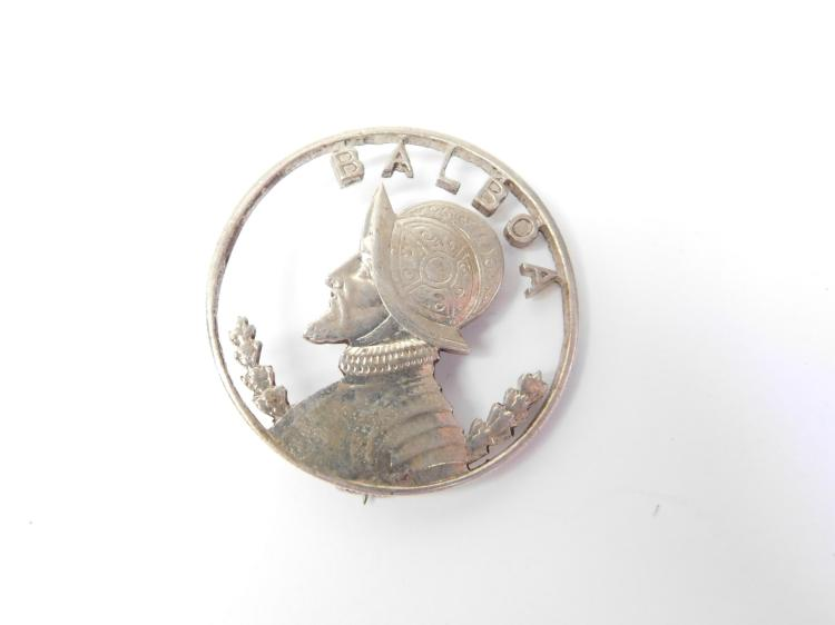 Vintage Silver Balboa Cut Out Coin Brooch