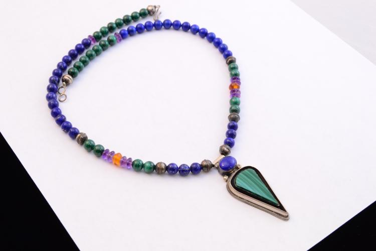 Roie Jaque Navajo Malachite Lapis Amethyst Amber Sterling Bench Bead Necklace