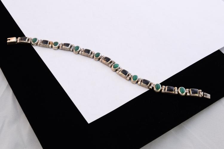 Vintage Taxco Mexico 950 Sterling Jet And Malachite Bracelet