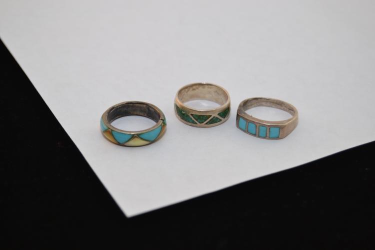 3 Vintage Navajo Sterling Inlaid Turquoise & Mop Rings