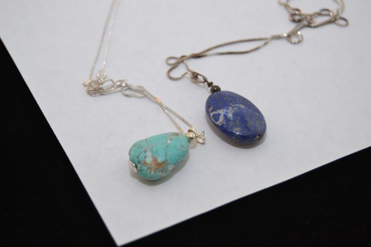 2 Sterling Silver Lapis & Turquoise Bead Pendant Necklaces
