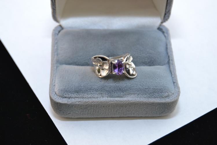 Vintage Nos Navajo Sterling Amethyst Ring Size 4.5